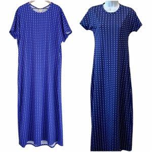 Lularoe Blue Polka-dot Maria Maxi Dress sz 3XL